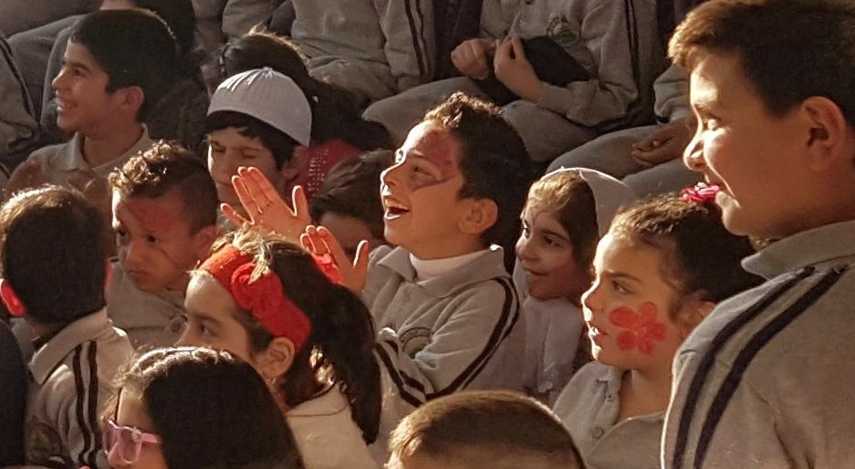 Barouk school Lebanon The sheer show on the faces of these children watching Magic for Smiles with Jamie Gibberish